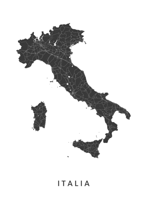 Italy Country Map stadskaart poster