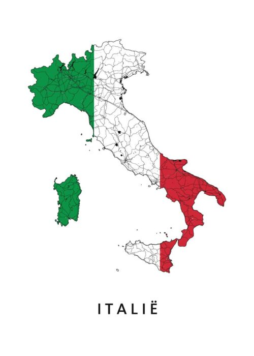 Italië Landkaart - Landvlag - Poster