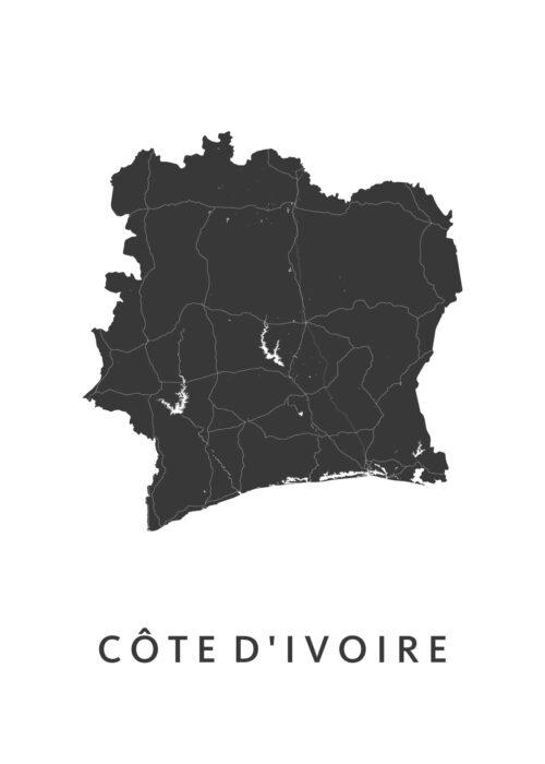 Côte D'Ivoire Landkaart