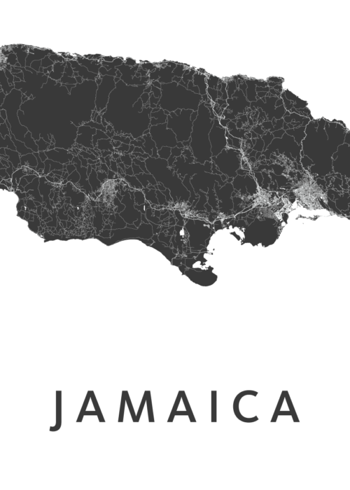 Jamaica Country Map stadskaart poster