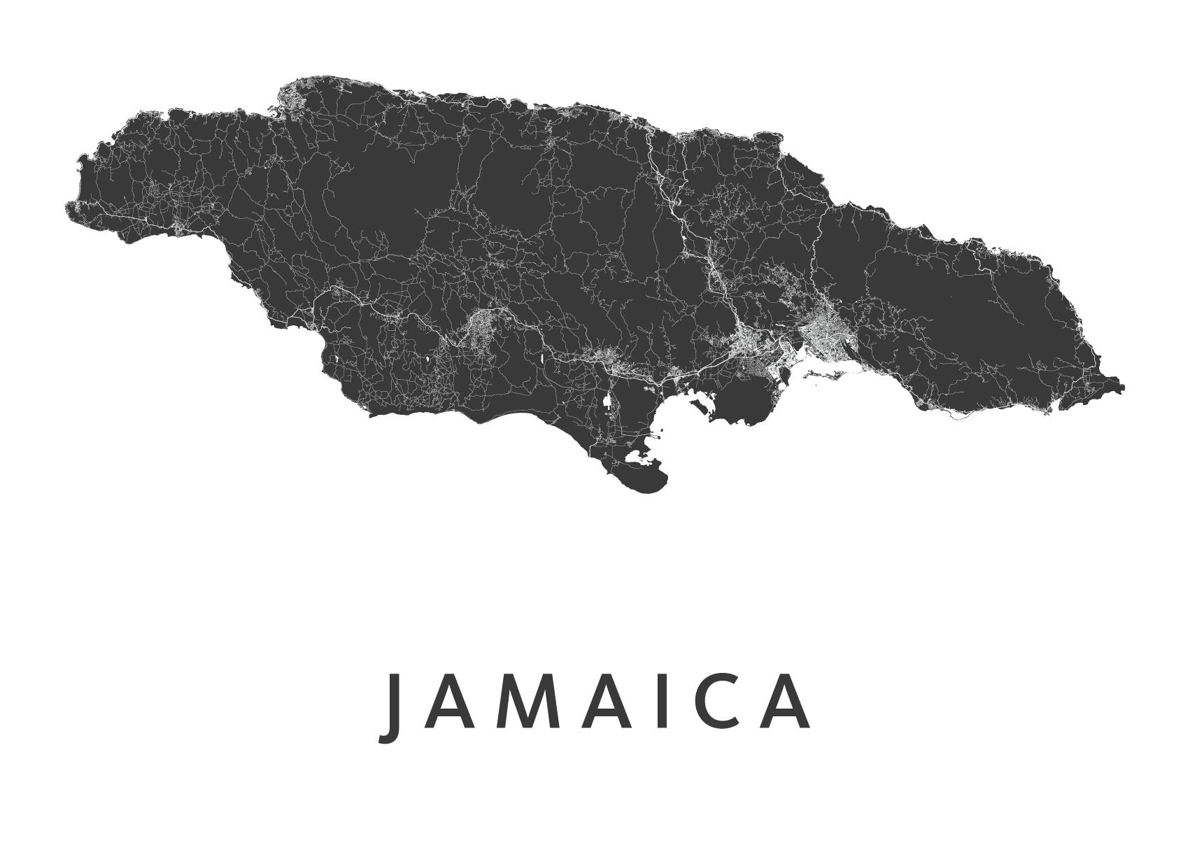 Jamaica Country Map stadskaart poster