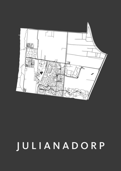 Julianadorp Black Stadskaart Poster | Kunst in Kaart