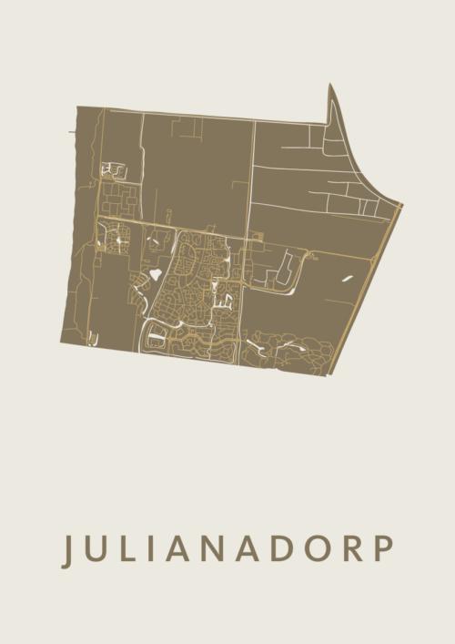 Julianadorp Gold Stadskaart Poster | Kunst in Kaart