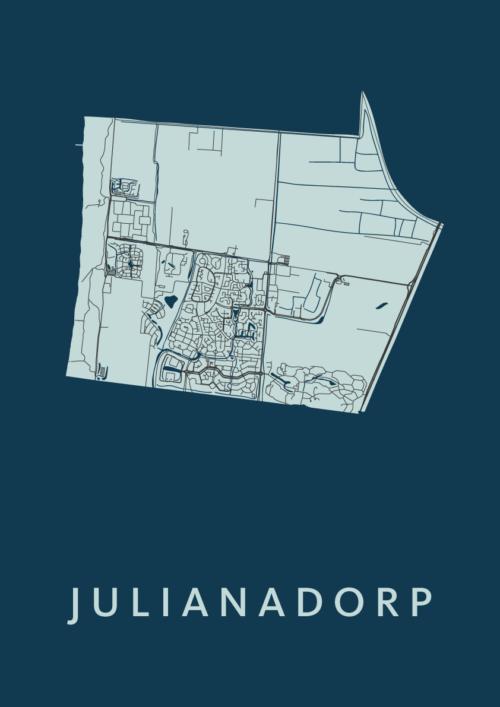 Julianadorp Navy Stadskaart Poster | Kunst in Kaart