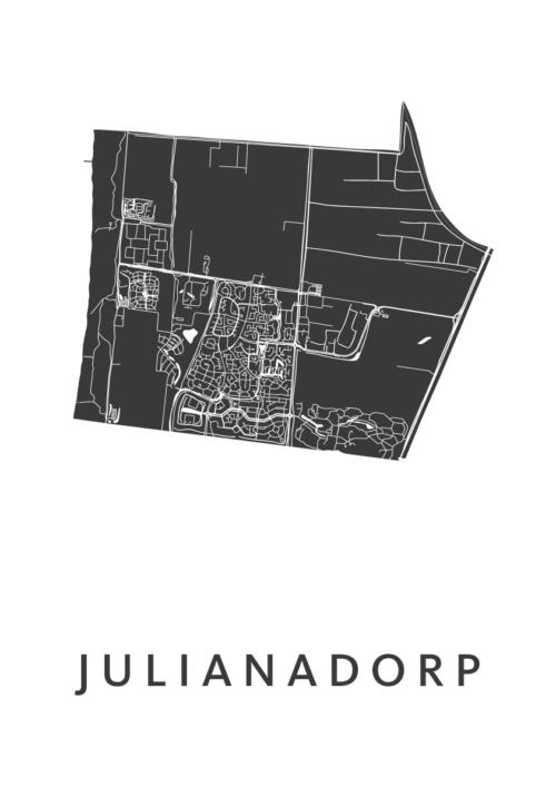 Julianadorp White Stadskaart Poster | Kunst in Kaart
