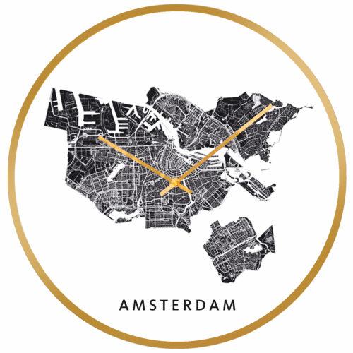 Amsterdam stadskaart klok goud