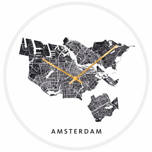 Amsterdam stadskaart klok wit