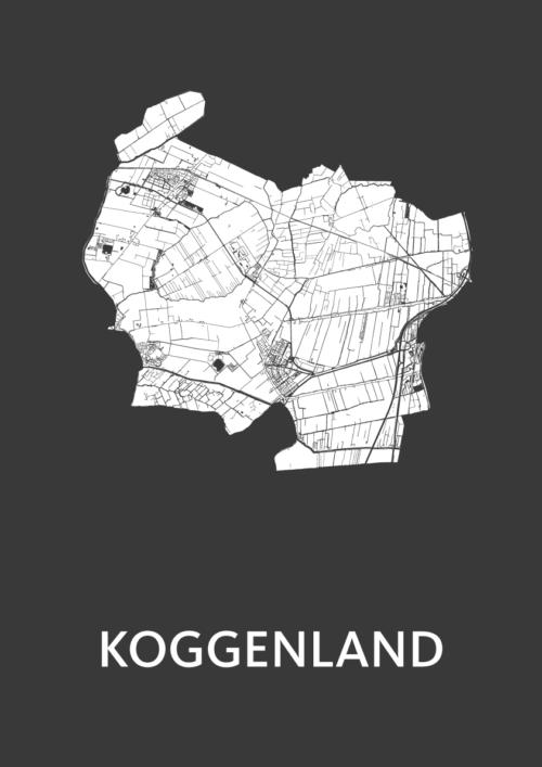 Koggenland Black Stadskaart Poster | Kunst in Kaart