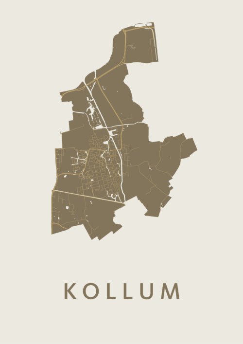 Kollum Gold Stadskaart Poster   Kunst in Kaart