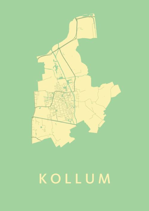Kollum Spring Stadskaart Poster   Kunst in Kaart
