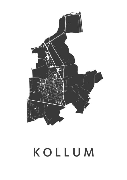Kollum White Stadskaart Poster   Kunst in Kaart