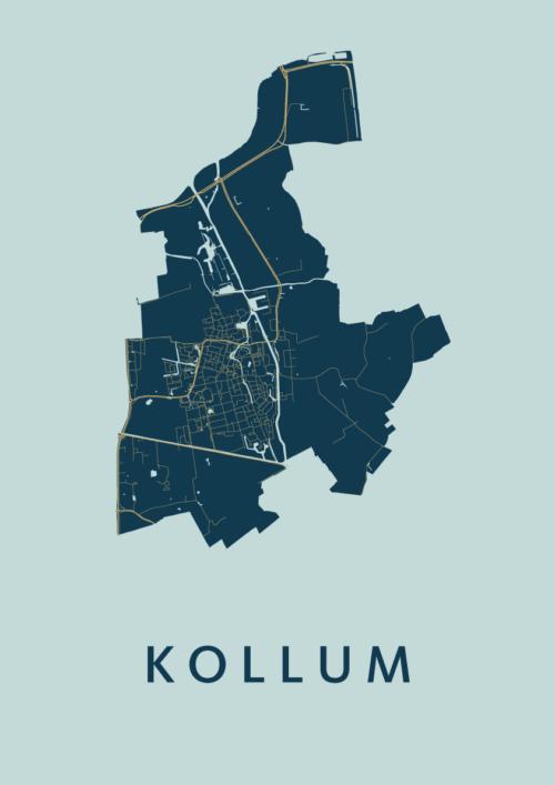 Kollum Prussian Stadskaart Poster | Kunst in Kaart