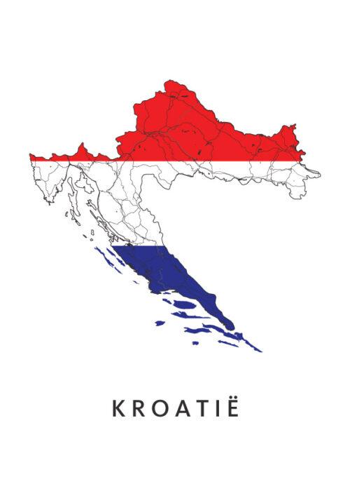 Kroatië Landkaart - Landvlag - Poster
