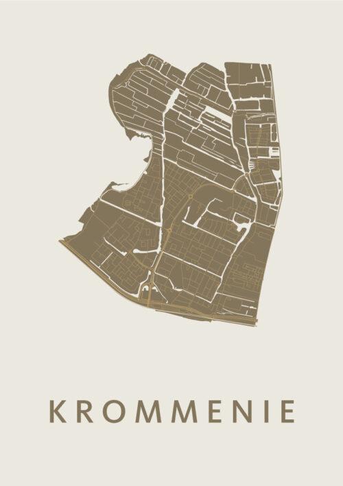 Krommenie Gold Stadskaart Poster | Kunst in Kaart