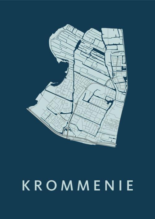 Krommenie Navy Stadskaart Poster | Kunst in Kaart