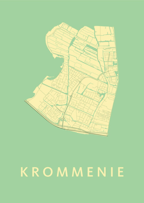 Krommenie Spring Stadskaart Poster | Kunst in Kaart