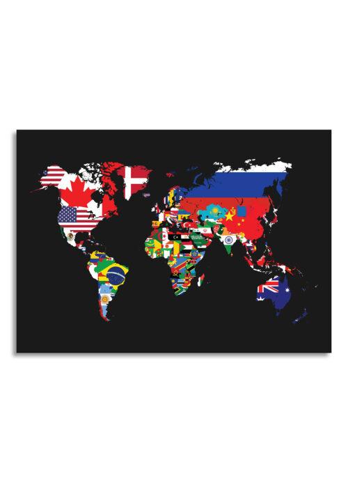Wereldkaart met landvlaggen - Black - Poster