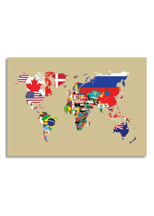 Wereldkaart met landvlaggen - Goud - Poster