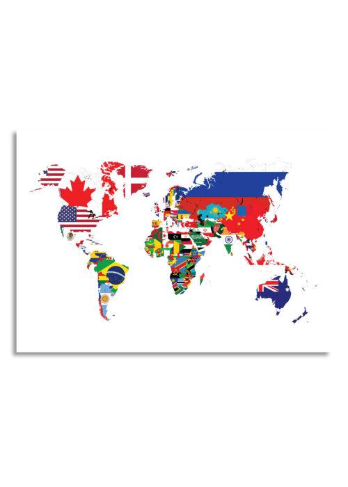Wereldkaart met landvlaggen - Wit - Poster