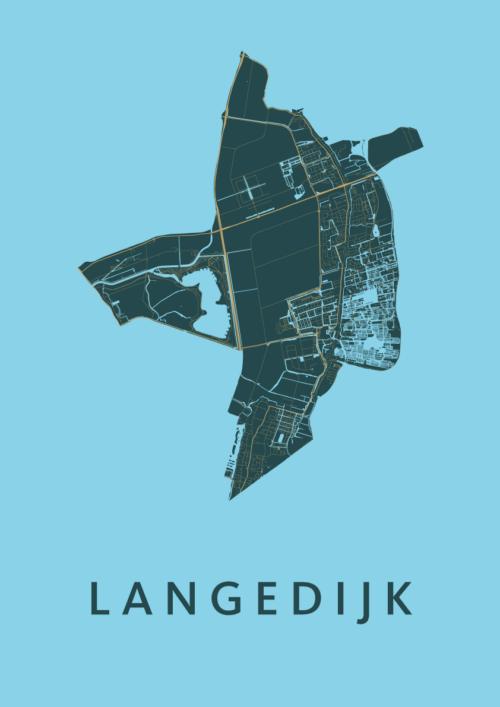 Langedijk Azure Stadskaart Poster | Kunst in Kaart