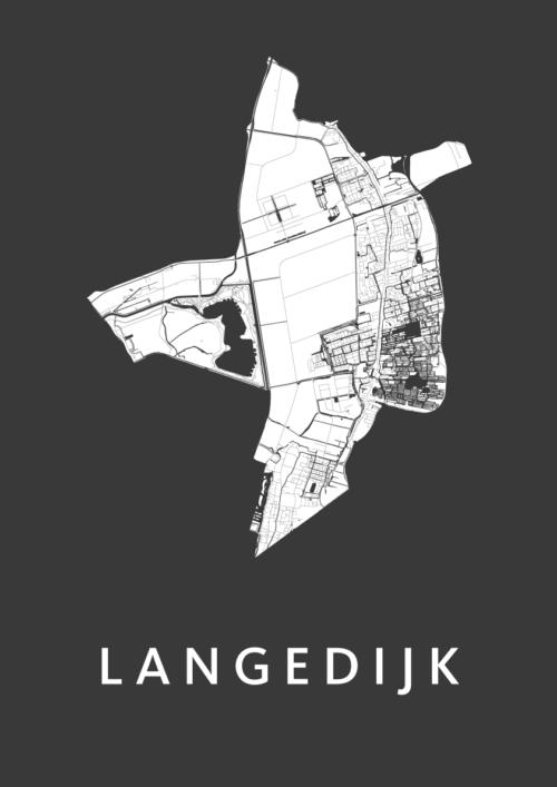 Langedijk Black Stadskaart Poster | Kunst in Kaart