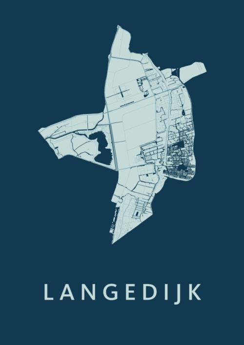 Langedijk Feldgrau Stadskaart Poster   Kunst in Kaart