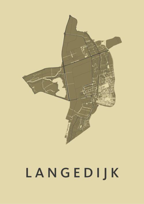 Langedijk GoldenRod Stadskaart Poster | Kunst in Kaart