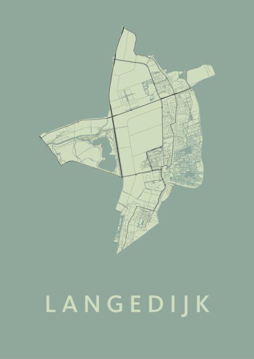 Langedijk Olive Stadskaart Poster | Kunst in Kaart