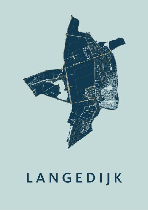 Langedijk Prussian Stadskaart Poster | Kunst in Kaart