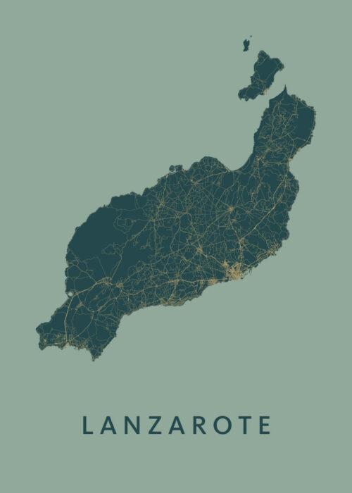 Lanzarote eilandkaart poster Amazon