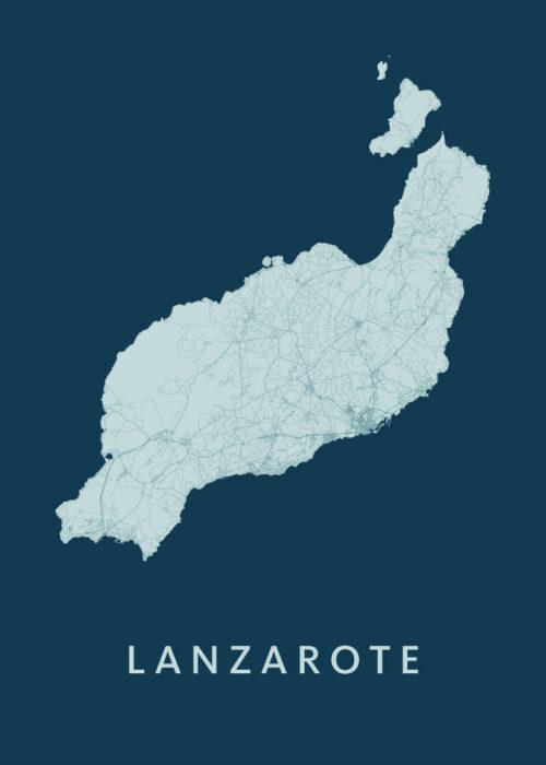 Lanzarote Feldgrau Island Map