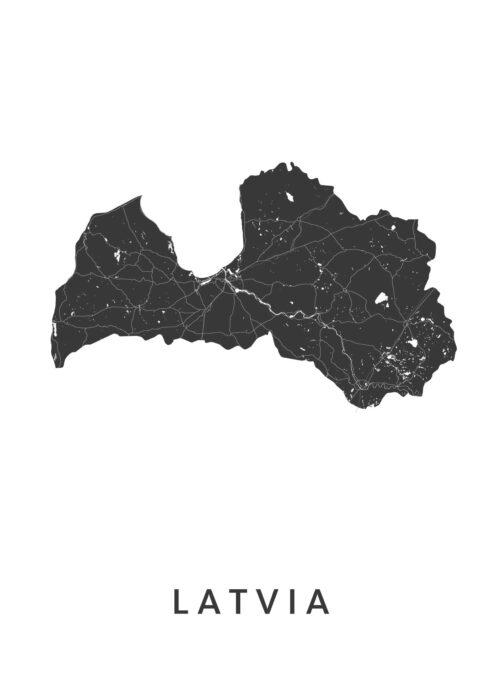 Latvia Landkaart