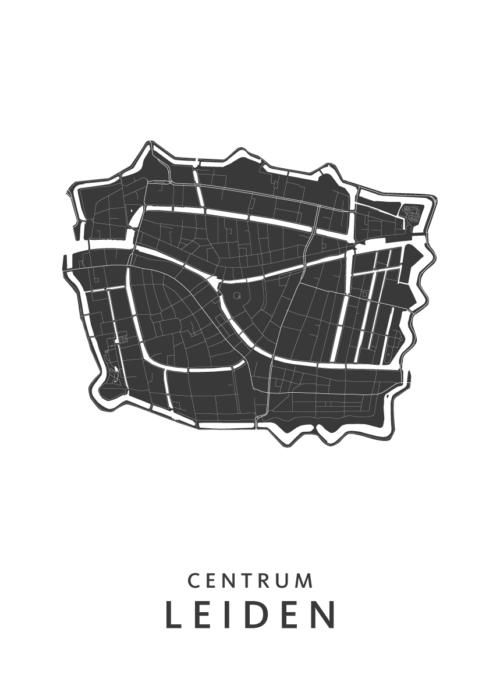 Leiden - Centrum Wijkkaart - wit