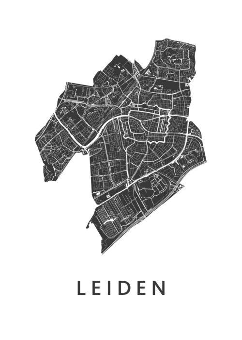 Leiden - White stadskaart poster