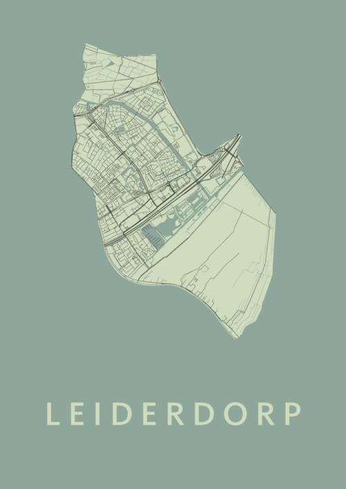 Leiderdorp Olive Stadskaart Poster | Kunst in Kaart
