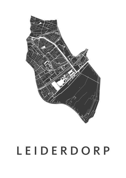 Leiderdorp White Stadskaart Poster | Kunst in Kaart