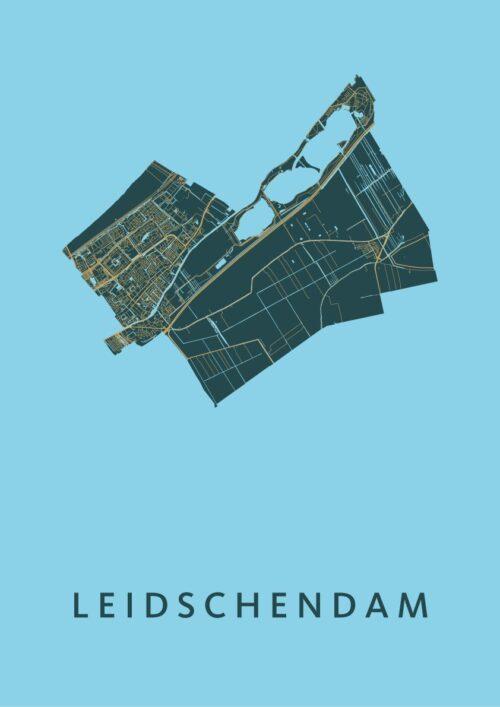 Leidschendam Azure Stadskaart Poster | Kunst in Kaart
