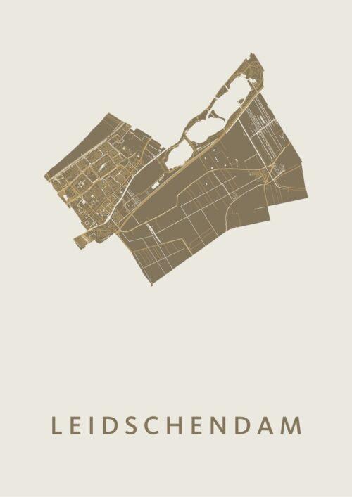 Leidschendam Gold Stadskaart Poster | Kunst in Kaart