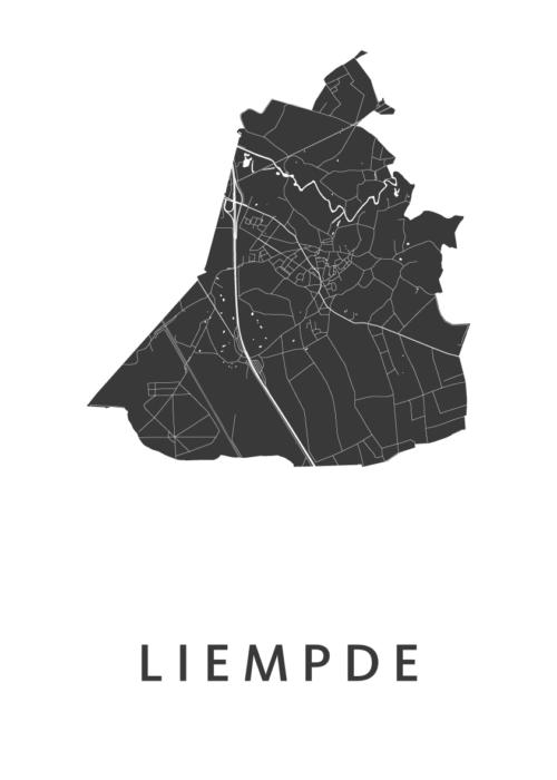 Liempde White Stadskaart Poster | Kunst in Kaart