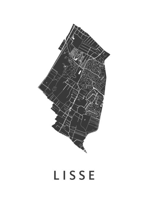 Lisse White Stadskaart Poster | Kunst in Kaart