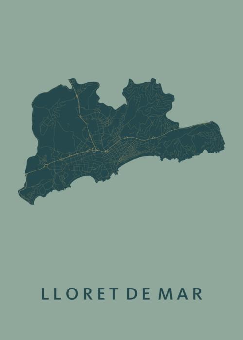 Lloret de Mar Amazon City Map Stadskaart poster   Kunst in Kaart