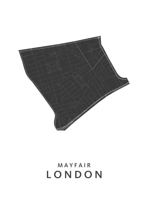 Londen - Mayfair - Wijkkaart - wit
