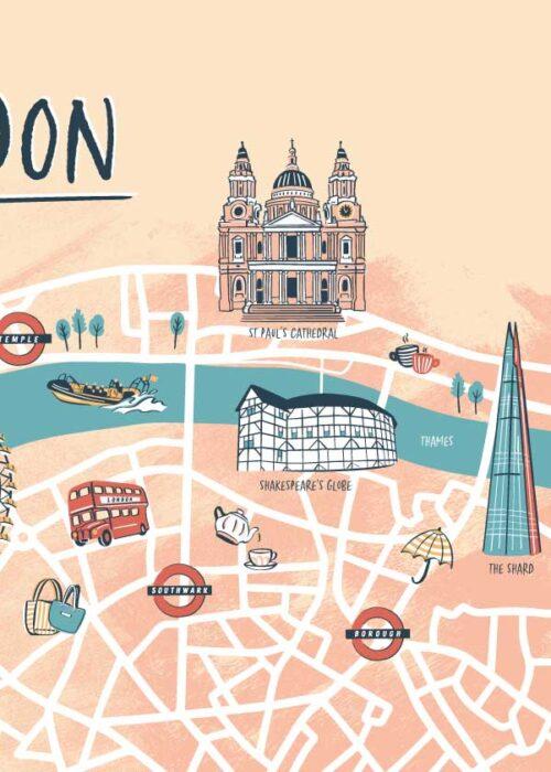 Geïllustreerde kaart - London Poster