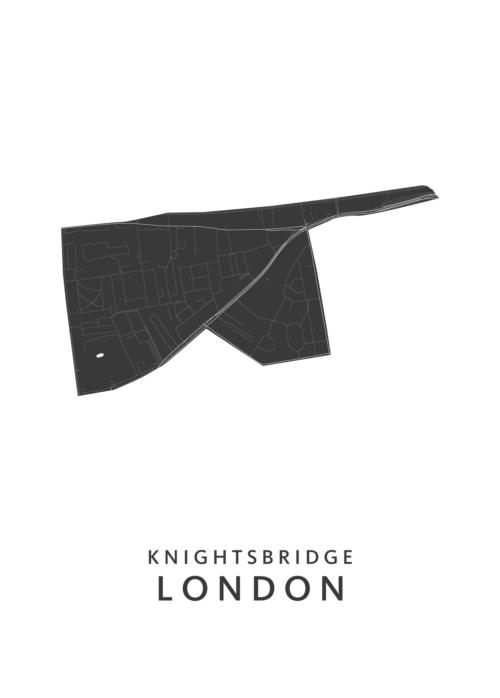 London - Knightbridge - Wijkkaart - wit