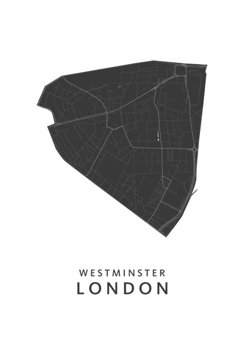London - Westminster - Wijkkaart - wit