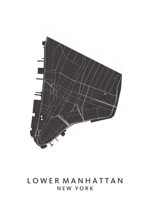 New York - Lower Manhattan - Wijkkaart - White