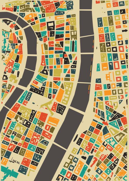 Lyon Autumn Mosaic Map
