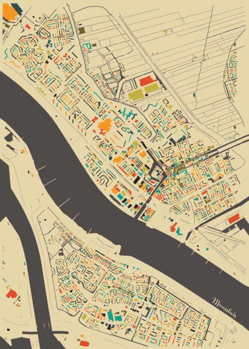 Maassluis Autumn Mosaic Map