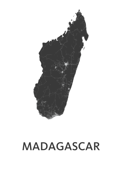 Madagascar Country Map stadskaart poster