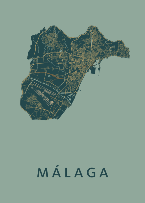 Málaga Amazon Stadskaart Poster   Kunst in Kaart